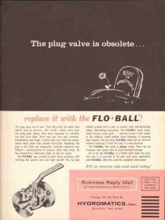 Hydromatics Inc 1962 Vintage Ad Flo-Ball Valves Replace Obsolete Plug