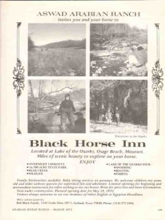 bob black horse inn 1972 aswad arabian ranch osage beach mo vintage ad