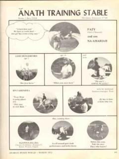 anath training stable 1972 fazy na-amariah arabian horse vintage ad