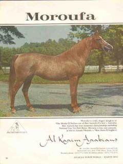 al karim arabians 1972 moroufa bint aaroufa equestrian stud vintage ad