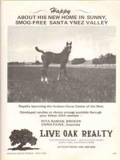 live oak realty 1972 santa ynez valley arabian horse center vintage ad