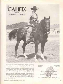 hitching post farm 1972 califix serafix caliope arabian vintage ad