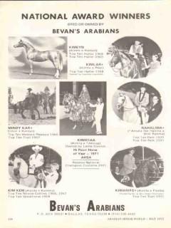 bevans arabians 1972 kimeyn kimlar kimiciaa equestrian stud vintage ad