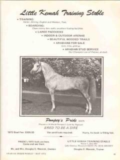 little kemah training stable 1972 pompeys pride equestrian vintage ad