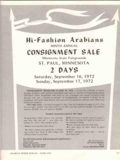 hi-fashion arabians 1972 consignment sale equestrian horse vintage ad