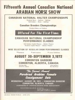 arabian horse show 1972 fifteenth annual canadian national vintage ad
