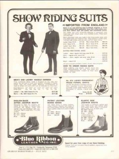 blue ribbon leather company 1972 show riding suits horse vintage ad