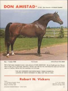 robert n vickers 1972 don amistad ibn hanrah stud horse vintage ad