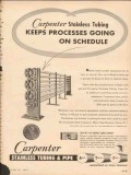 Carpenter Steel Company 1953 Vintage Ad Oil Processes Stainless Tubing