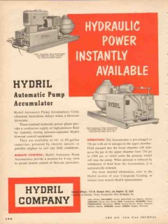 Hydril Company 1953 Vintage Ad Hydraulic Automatic Pump Accumulator