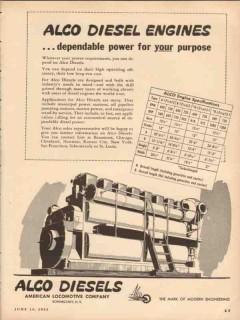 American Locomotive 1953 Vintage Ad ALCO Diesel Engines Power Purpose