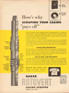 Baker Oil Tools Inc 1953 Vintage Ad Scraping Casing Pays Off Oilfield