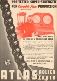 Atlas Chain Mfg Company 1953 Vintage Ad Pre-Tested Super Strength