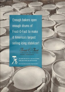 basic foods sales corp 1959 frost-o-fast icing baking drums vintage ad