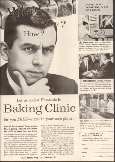 a e staley mfg company 1958 baking clinic production sales vintage ad