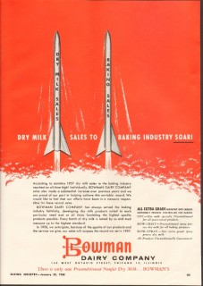 bowman dairy company 1958 dry milk sales baking industry vintage ad