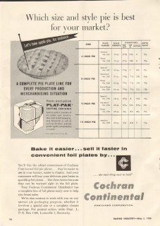 cochran continental container corp 1958 size style pie bake vintage ad