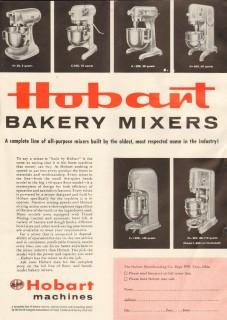 hobart mfg company 1958 all-purpose baking mixing machines vintage ad