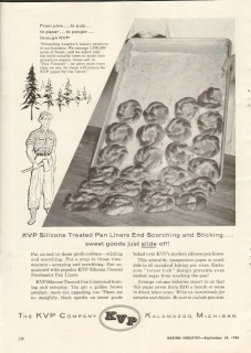 kvp company 1958 silicone treated parchment pan liners bake vintage ad