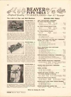 Beaver Pipe Tools Inc 1942 Vintage Catalog Bolt Threaders Cutters