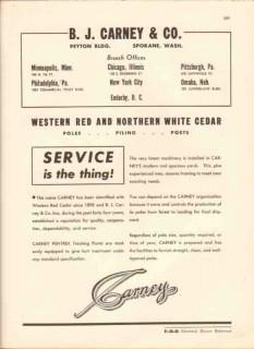 B J Carney Company 1943 Vintage Catalog Cedar Pole Piling Post Service