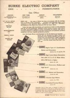 Burke Electric Company 1944 Vintage Catalog Motor Generator Sets AC-DC