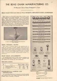 Bead Chain Mfg Company 1944 Vintage Catalog Electrical Pull Sockets