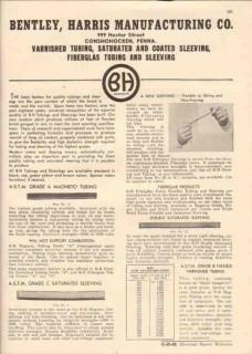 Bentley Harris Mfg Company 1944 Vintage Catalog Tubing Coated Sleeving