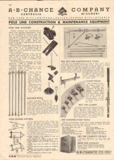 A B Chance Company 1944 Vintage Catalog Electric Pole Line Anchors Guy