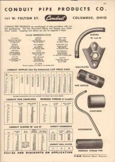 Conduit Pipe Products Company 1944 Vintage Catalog Nipples Elbows