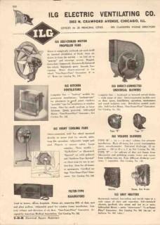 ILG Electric Ventilating Company 1944 Vintage Catalog Fans Blowers