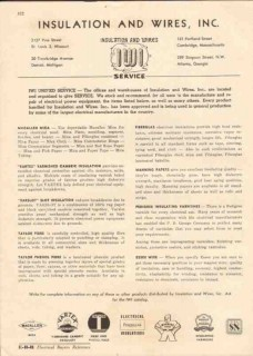Insulation Wires Inc 1944 Vintage Catalog Service Mica Fiberglas Essex