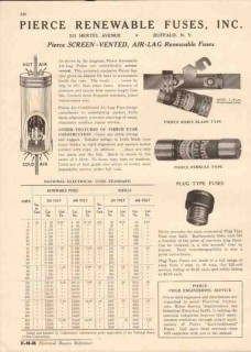 Pierce Renewable Fuses Inc 1944 Vintage Catalog Screen-Vented Air-Lag