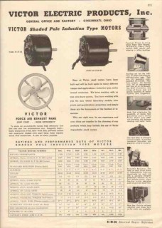 Victor Electric Products Inc 1944 Vintage Catalog Motor Induction Type