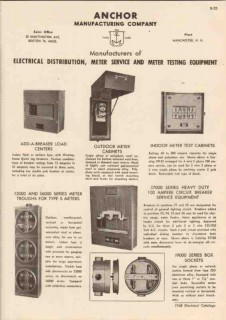 Anchor Mfg Company 1948 Vintage Catalog Electrical Distribution Meters