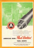 American Iron Machine Works 1955 Vintage Ad Oil Flash Weld Tool Joints