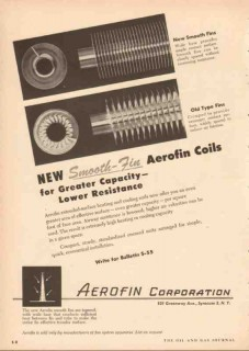 Aerofin Corp 1955 Vintage Ad Oil Smooth-Fin Coils Capacity Resistance