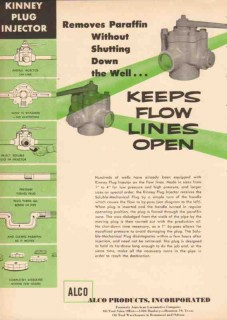 Alco Products Inc 1955 Vintage Ad Kinney Plug Injector Flow Lines Open
