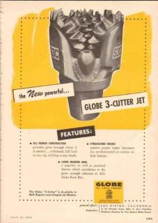 Globe Oil Tools Company 1955 Vintage Ad 3-Cutter Jet Drilling Powerful