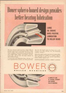 Bower Roller Bearing Company 1955 Vintage Ad Better Lubrication Groove