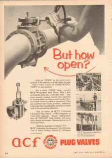 ACF Industries 1955 Vintage Ad Gas Oil Completely Open Plug Valve Port