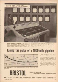 Bristol Company 1955 Vintage Ad Oil Pipeline Metameter Taking Pulse