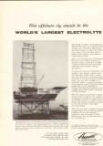 Amercoat Corporation 1959 Vintage Ad Offshore Rig Largest Electrolyte