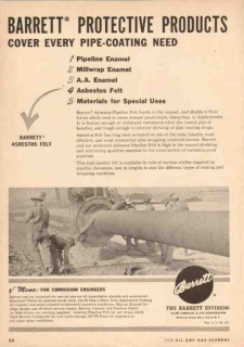 Allied Chemical Dye 1950 Vintage Ad Oil Barrett Protective Pipe Coat
