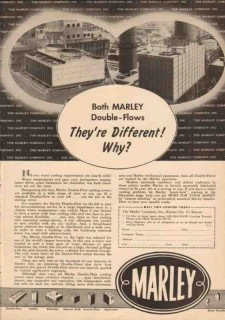 Marley Company 1950 Vintage Ad Oil Water Cooling Tower Double-Flows