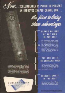 Schlumberger Well Surveying Corp 1950 Vintage Ad Oil Field Charge Gun