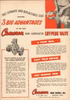 Cameron Iron Works 1950 Vintage Ad Oil Non-Lubricated Lift-Plug Valve