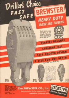 Brewster Company 1950 Vintage Ad Oil Traveling Blocks Fast Heavy Duty