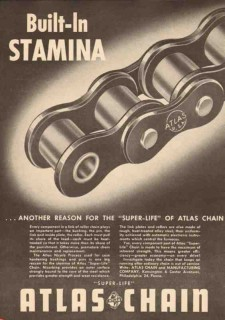 Atlas Chain Mfg Company 1950 Vintage Ad Built-In Stamina Super-Life