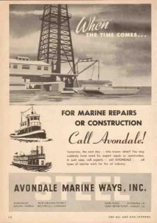 Avondale Marine Ways 1950 Vintage Ad Time Comes Repairs Construction